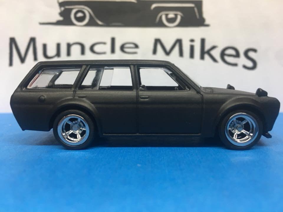 Custom Hot Wheels 71 Datsun 510 Bluebird Flat Black Rubber Tires Real Rider Style