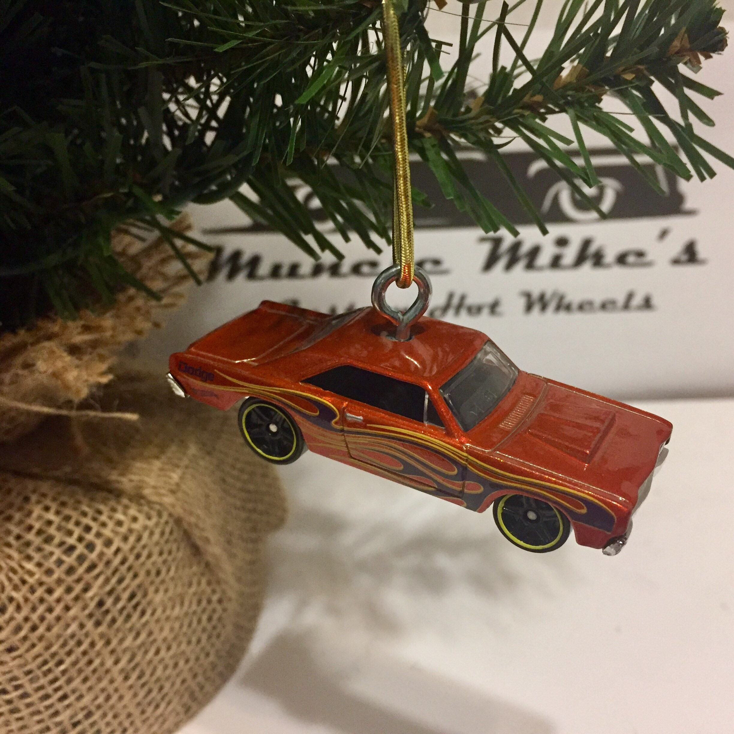 Hot Wheels Christmas Ornament Custom  68 Dodge Dart with flames