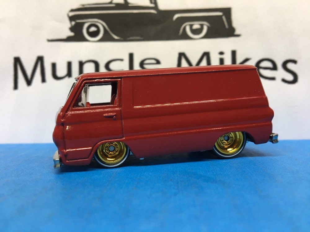 Hot Wheels 1966 Dodge A 100 Van Real Rider Red Line Rubber Tires Custom Painted Cherry Red