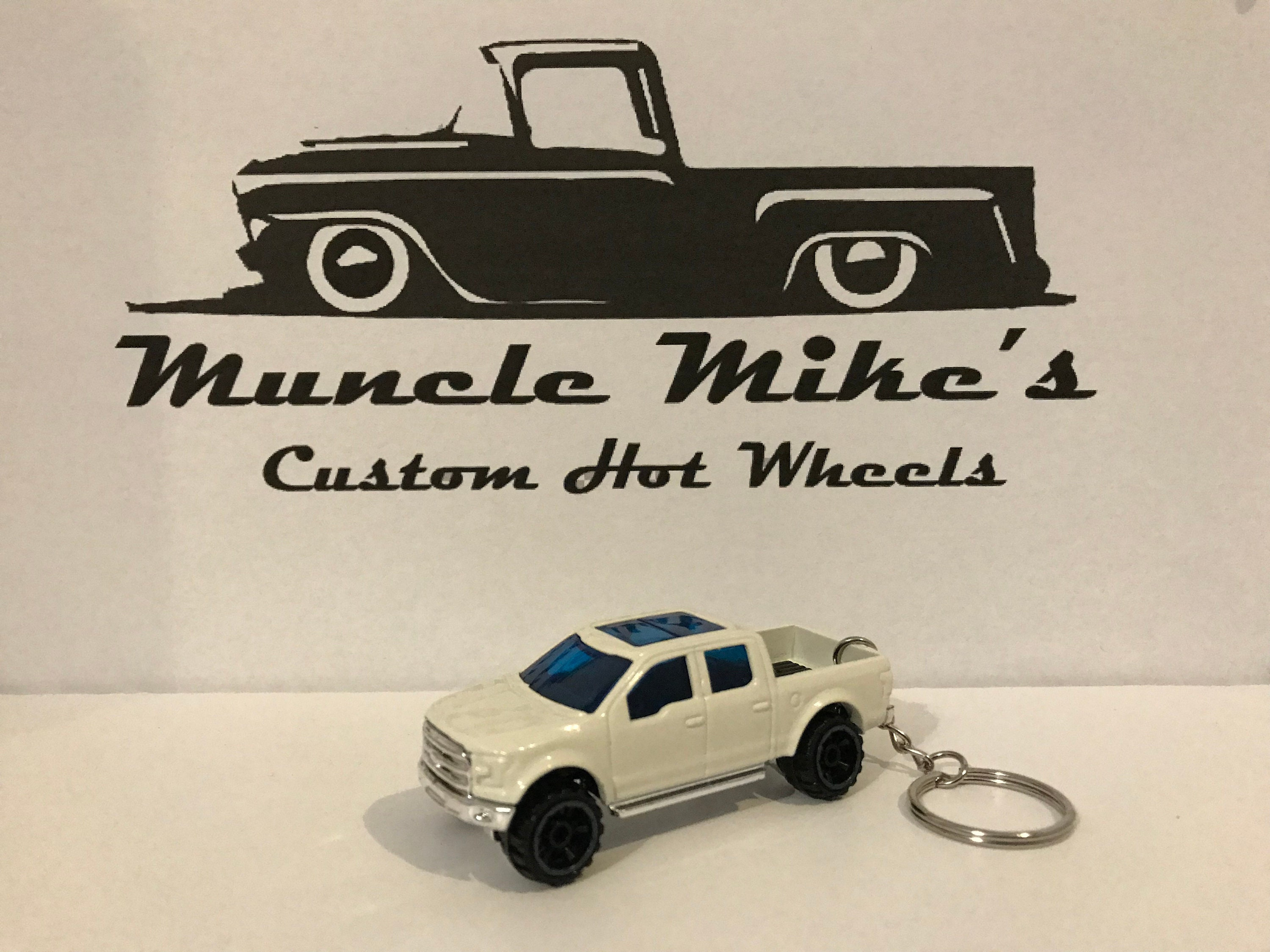 Custom Hot Wheels white 2015 '15 Ford F-150 pickup truck key chain keychain custom painted