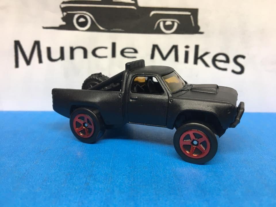 Custom Hot Wheels 1987 Dodge D100 Off-Road Flat Black