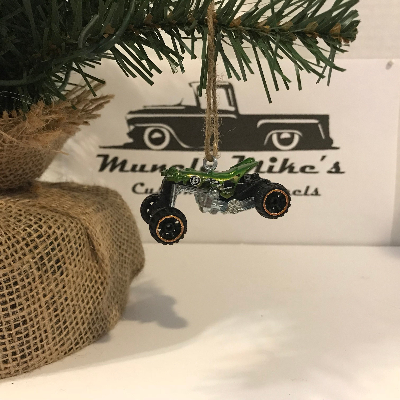 Hot Wheels Christmas Ornament One Custom  Daredevils 4wheeler offroad dirt bike green Quad Rod Christmas Ornament