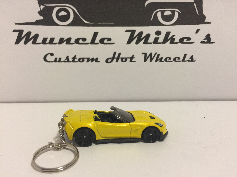 Custom Hot Wheels yellow Corvette C7 Z06 convertible key chain keychain