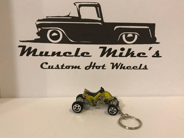 Custom Hot Wheels metalic yellow/green 4wheeler quad