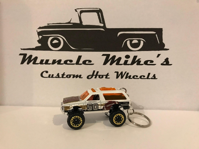 Custom Hot Wheels white Chevy Blazer 4x4 with football graphics key chain keychain