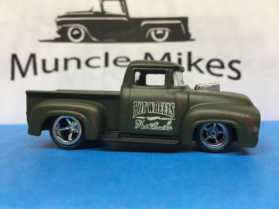 Custom Hot Wheels Custom 1956 Ford Truck Green Rubber Tires Real Rider Style