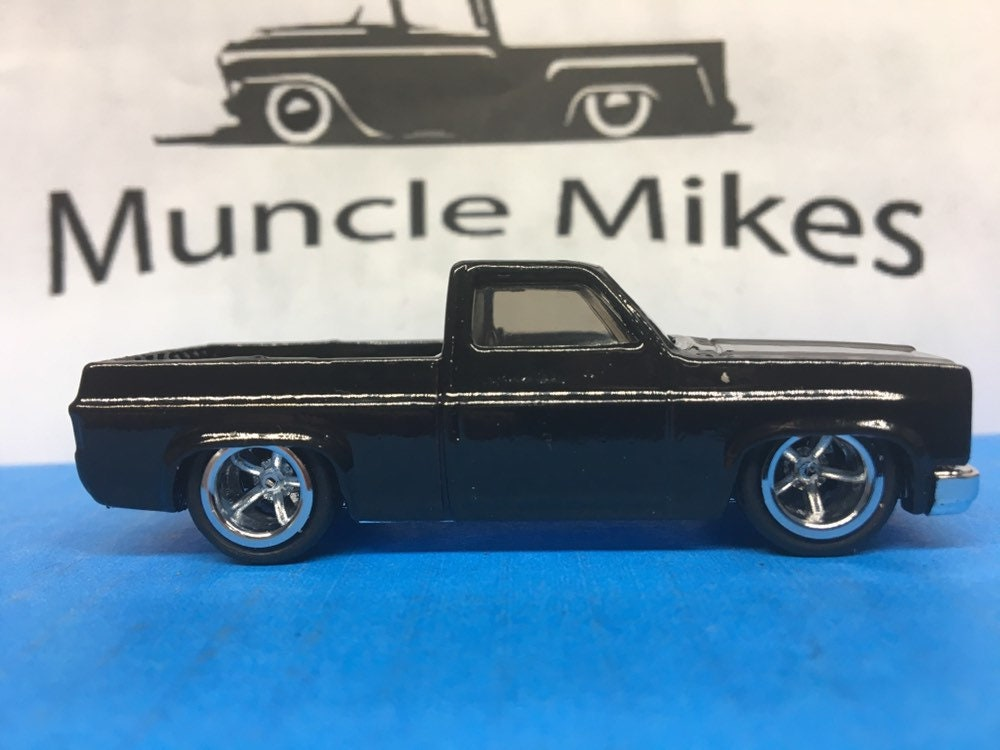 Custom Hot Wheels 83 Chevy Silverado SWB Custom Painted JET BLACK Rubber Tires Real Rider Style
