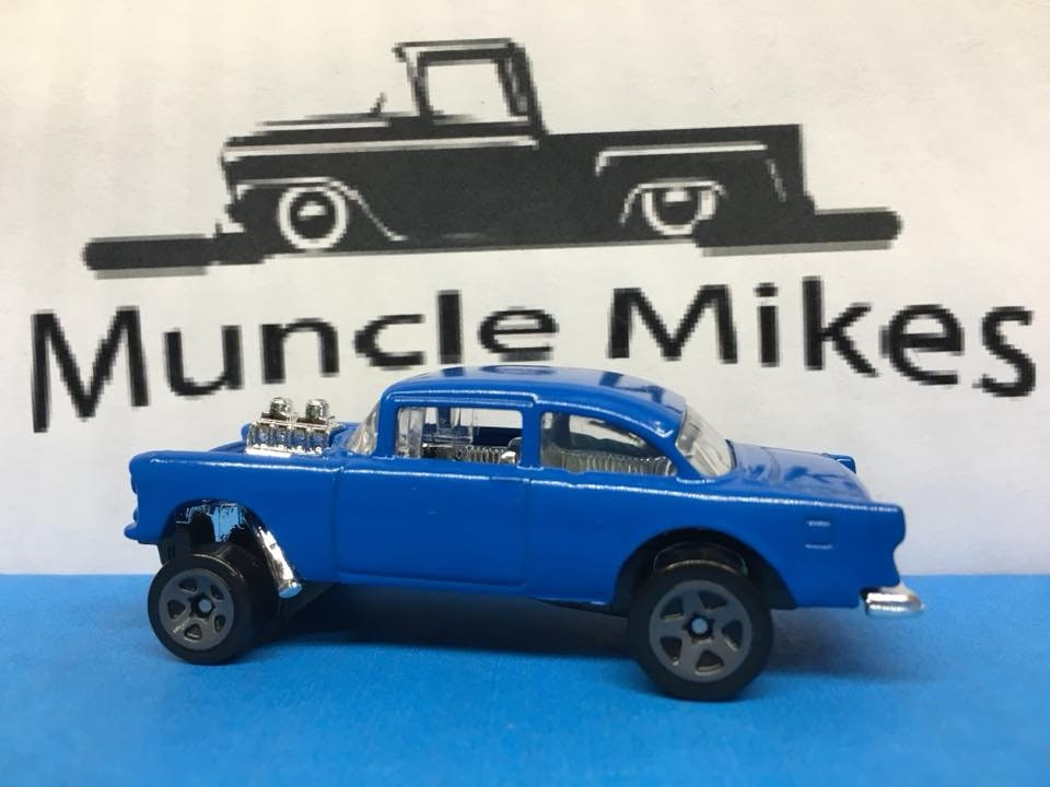 Custom Hot Wheels 55 Chevy Gasser SAIL BLUE