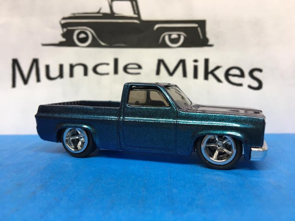 Custom Hot Wheels 1983 Chevy Silverado SWB Custom Painted Chameleon Green to Purple Rubber Tires Real Rider Style Free Shipping!