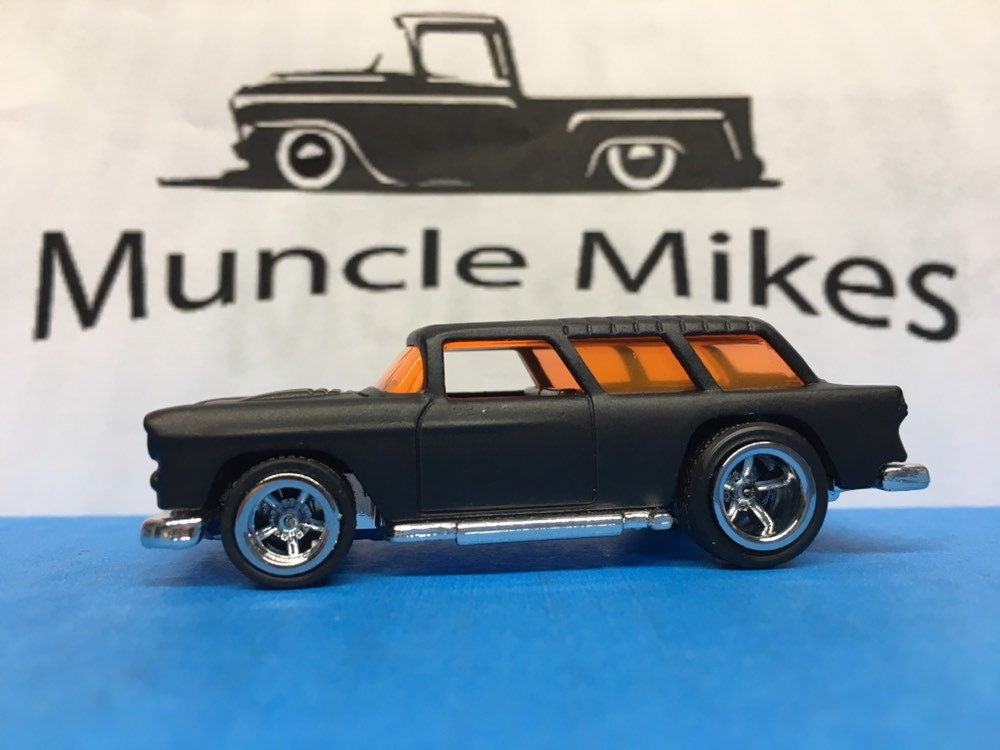Custom Hot Wheels 1955 Chevy Nomad American Racing Wheels with Rubber Tires Custom Painted FLAT BLACK