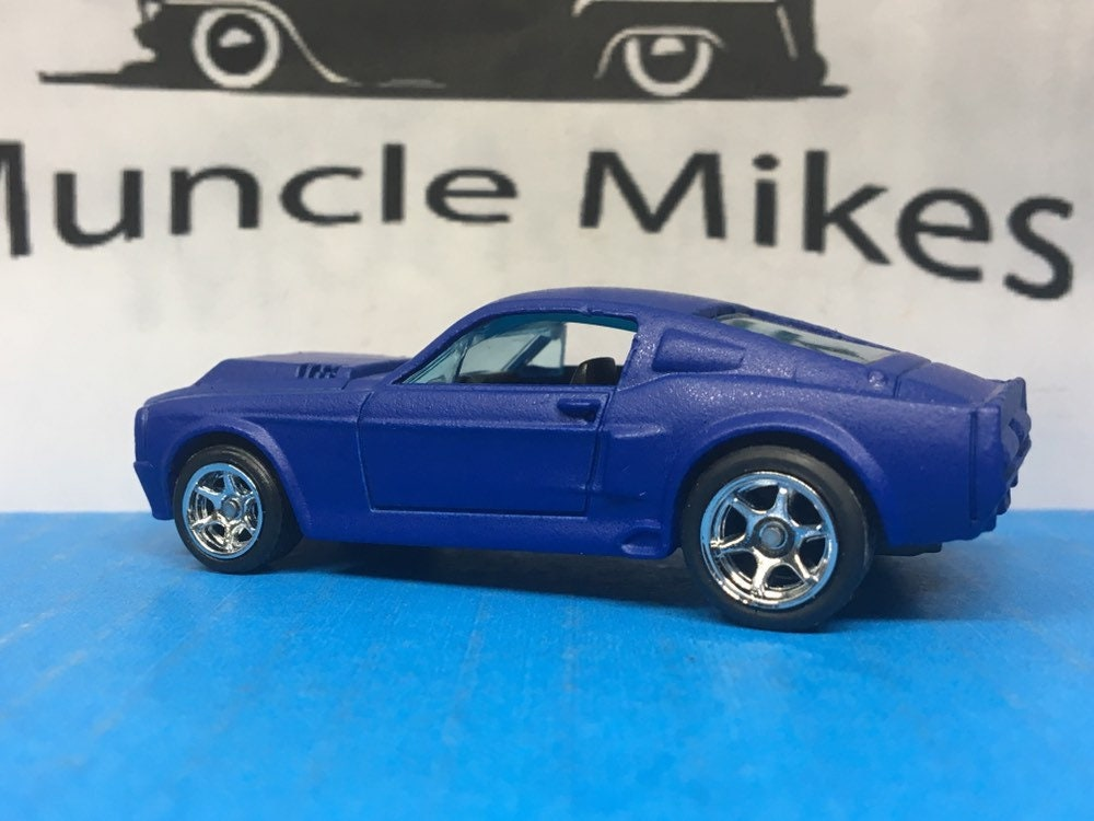 Custom Hot Wheels 1967 Mustang Shelby GT 500 Rubber Tires and FR-500 Racing Wheels Custom Painted Satin Ink Blue Free Shipping!