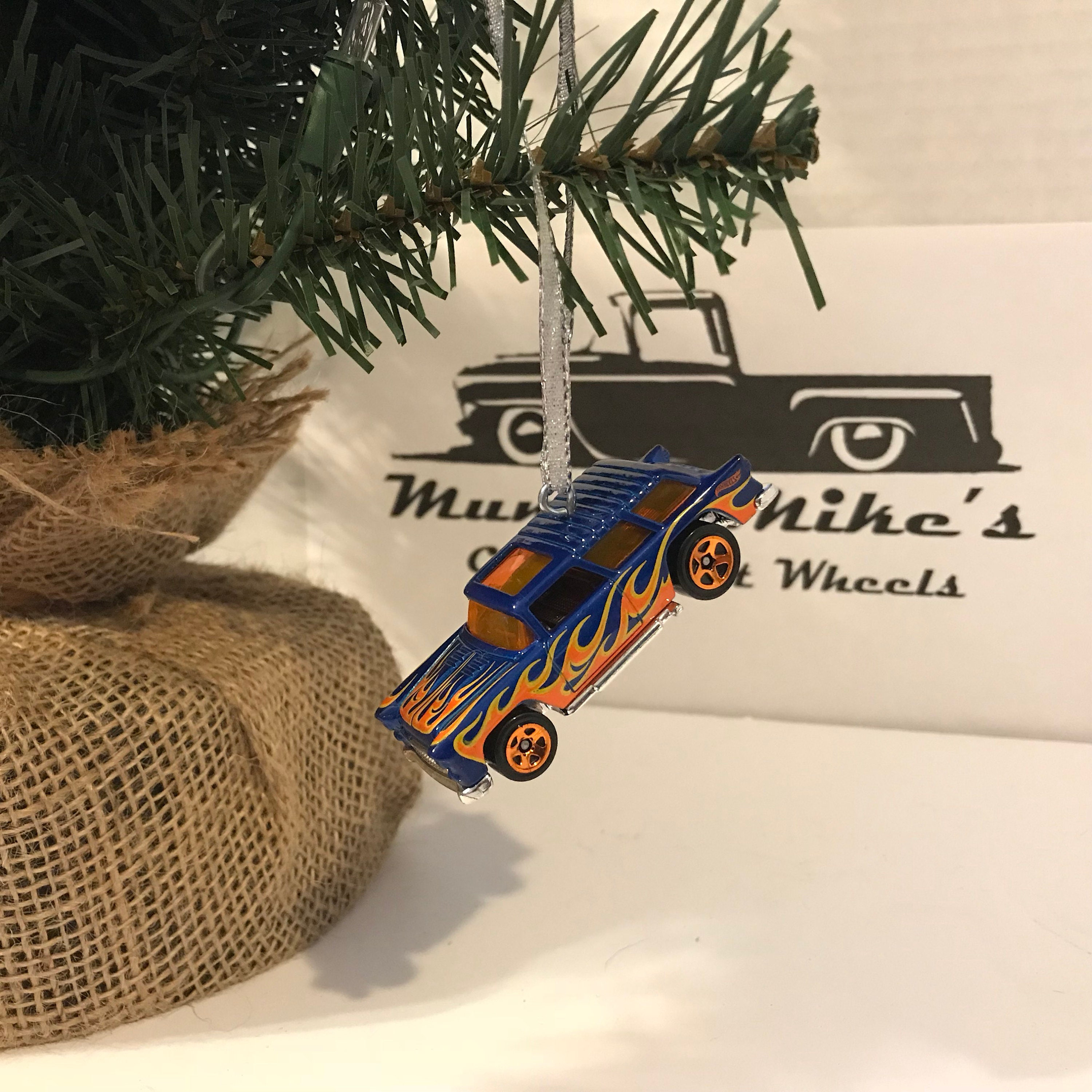 Hot Wheels Christmas Ornament Custom  1955 Chevy Nomad wagon blue with orange flames Free Shipping!