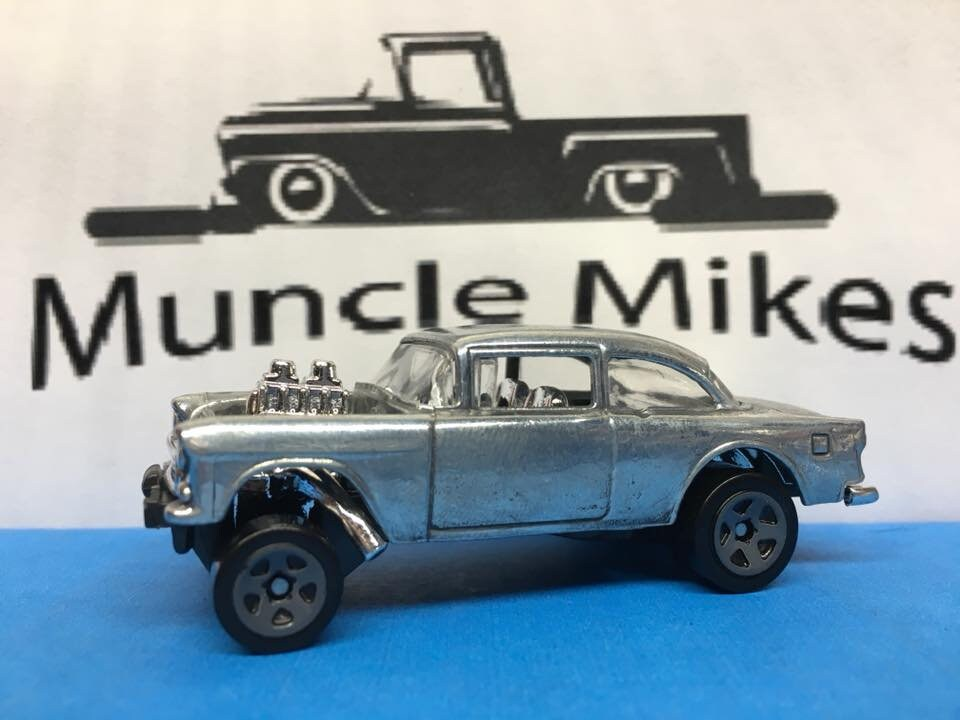 Custom Hot Wheels 55 Chevy Gasser Bare Metal