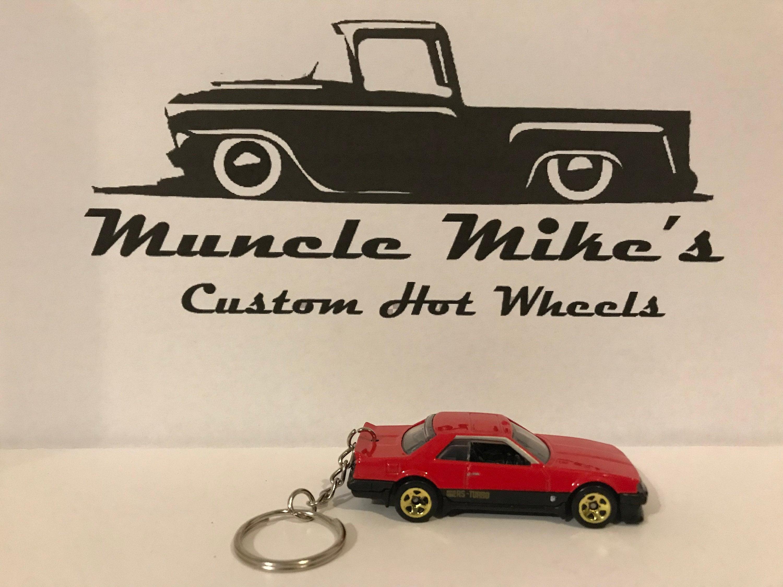 Custom Hot Wheels 1982 red Nissan Skyline key chain keychain