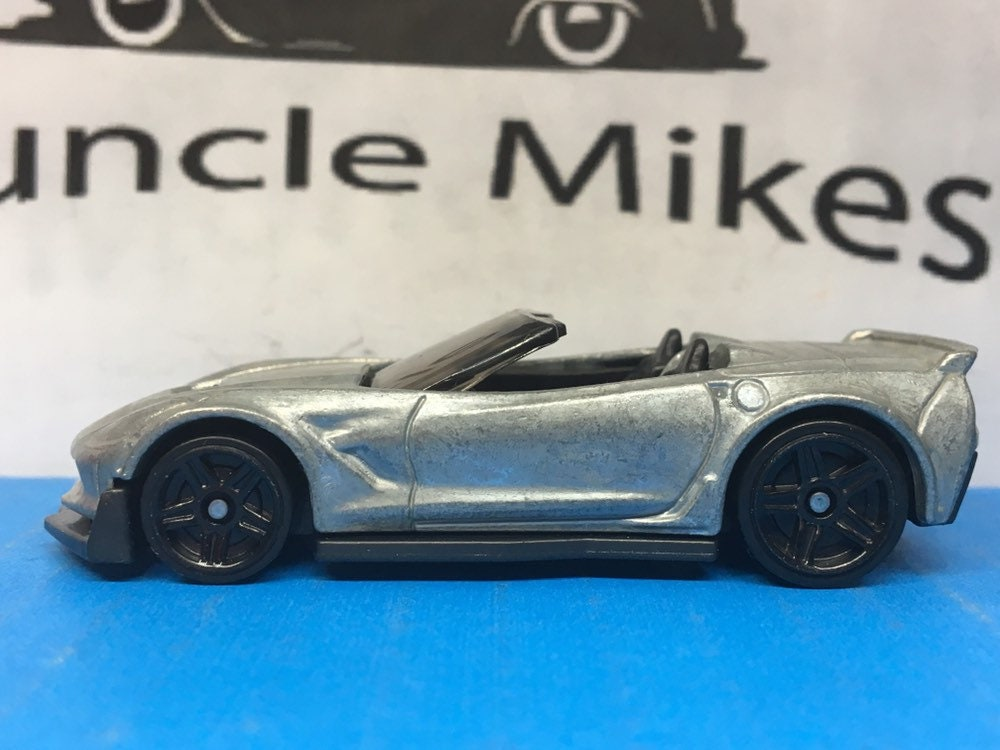Custom Hot Wheels Chevy Corvette C7 Z06 Convertible Muscle Car Hot Rod Black Wheels BARE METAL