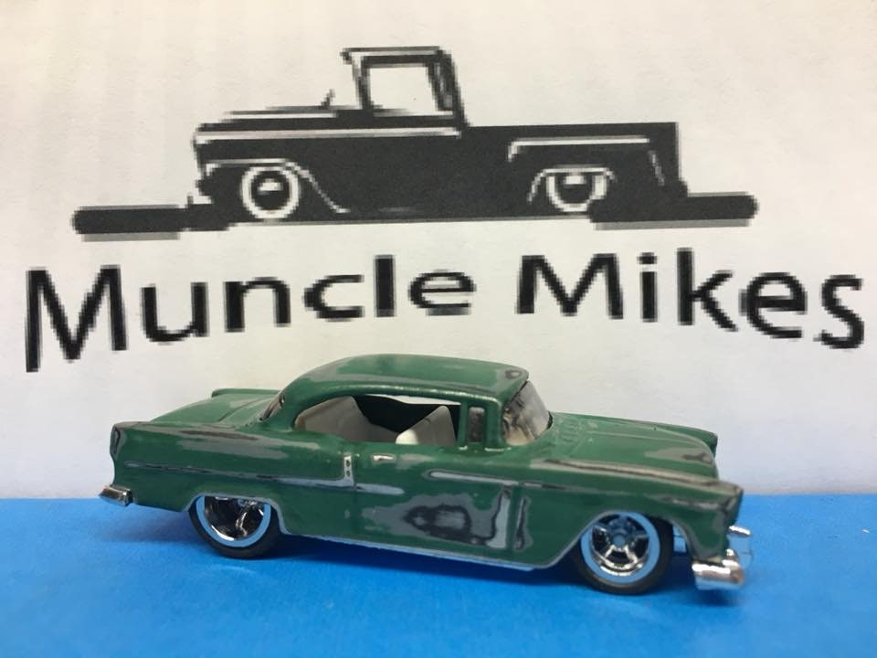 Custom Hot Wheels 55 Chevy Green Patina Rubber Tires Real Rider Style