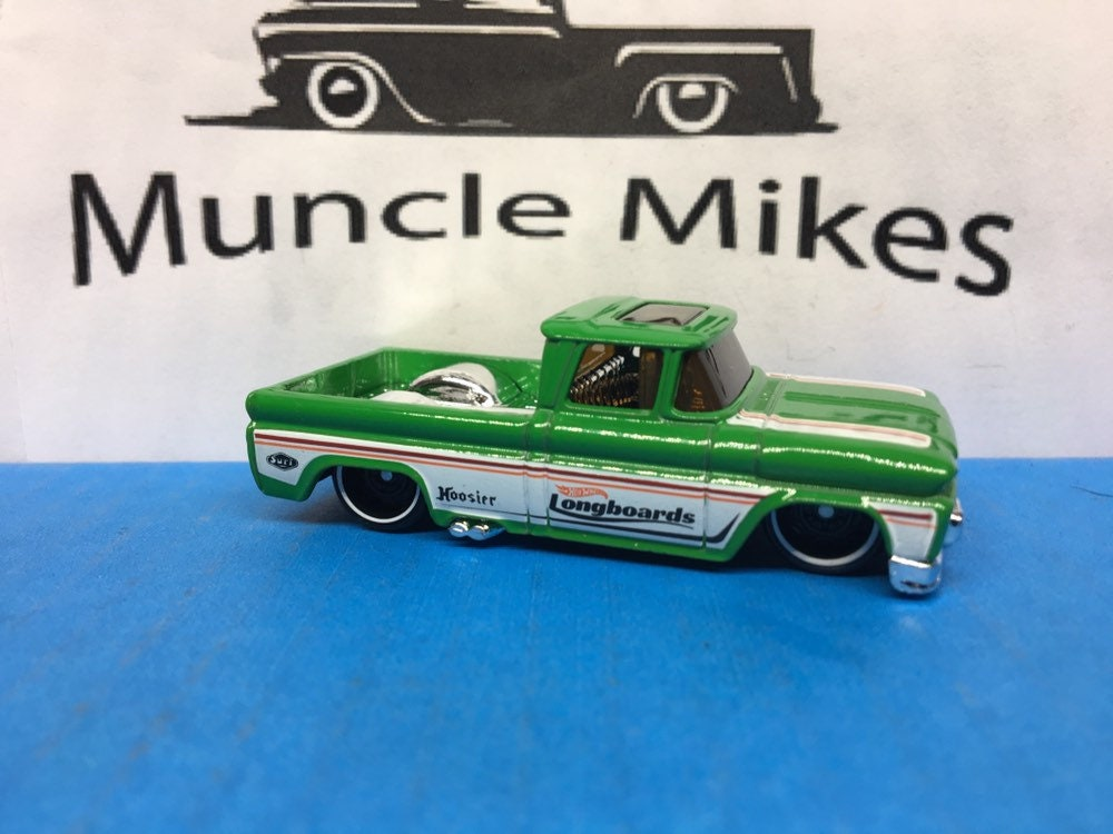 Collectible 2018 Hot Wheels 1962 Chevy Surf Up Pick Up Truck Green And White With Custom Clear Display Case