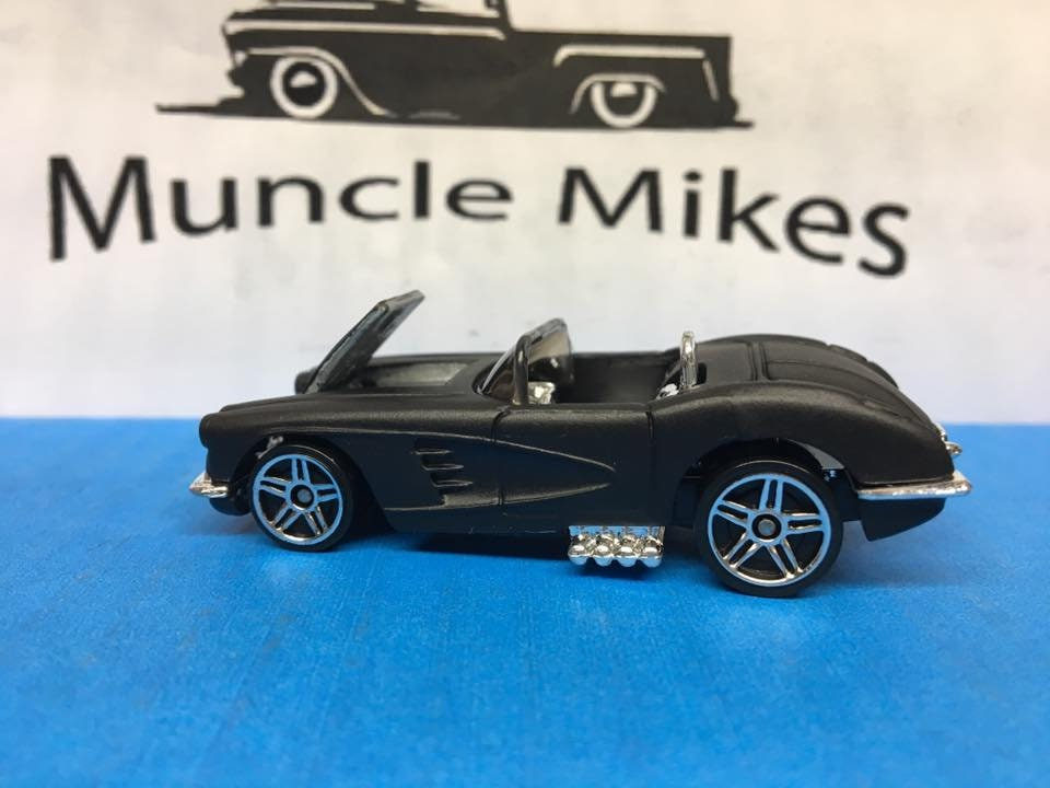 Custom Hot Wheels 1958 Corvette Custom Painted FLAT BLACK Free Shipping!