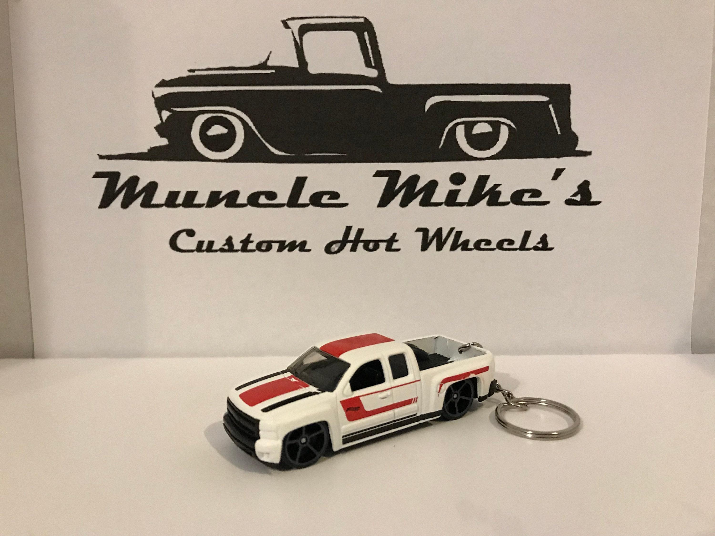 Custom Hot Wheels white Chevy Silverado truck key chain keychain