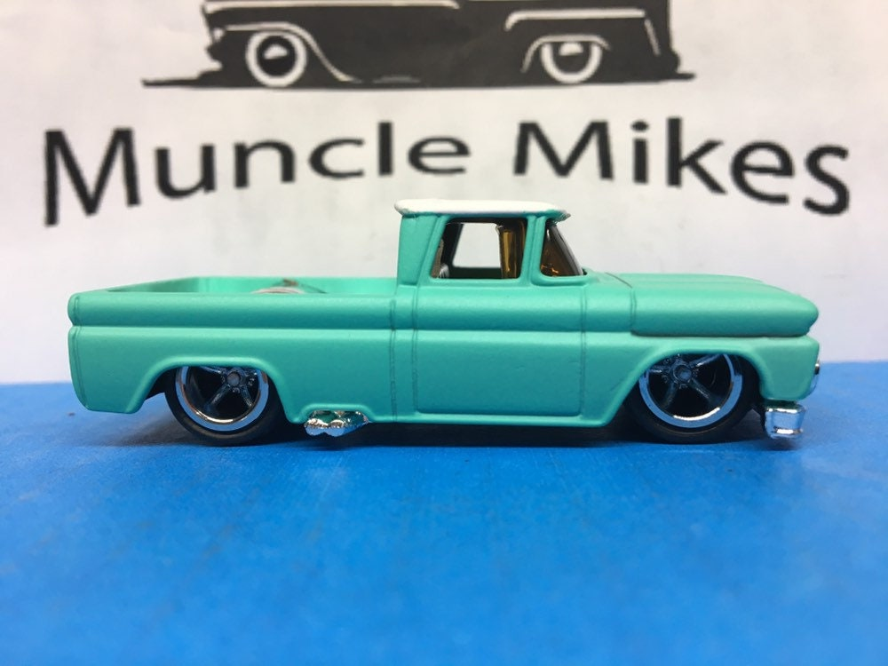 Custom Hot Wheels 1962 Chevy Rubber Tires American Racing Wheels Painted Two Tone FLAT BLUE & WHITE