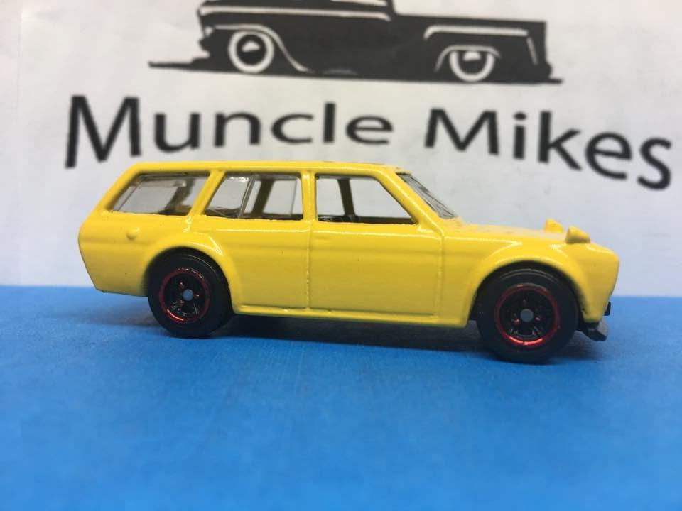 Custom Hot Wheels Datsun 510 Bluebird Station Wagon Yellow Matchbox Wheels