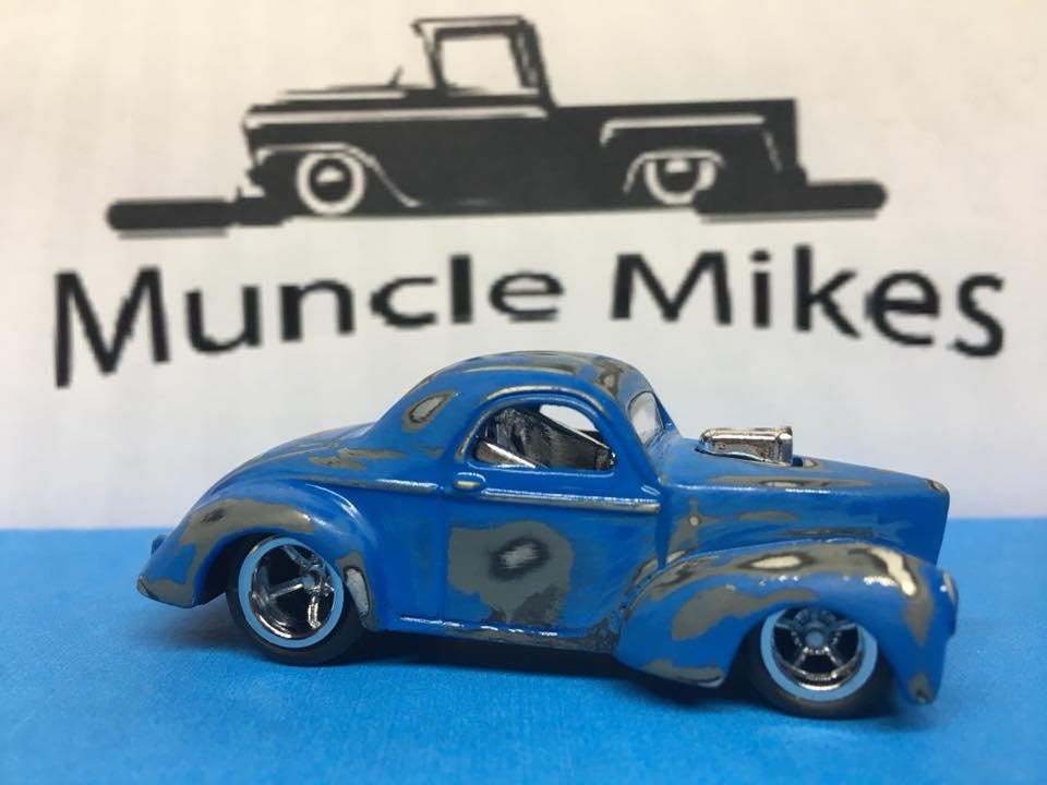 Custom Hot Wheels Patina 41 Willy's Rubber Tires Real Rider Style