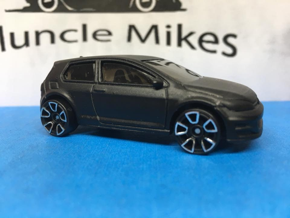 Custom Hot Wheels Volkswagen Golf Mk7 Flat Black Custom Built Hot Wheels