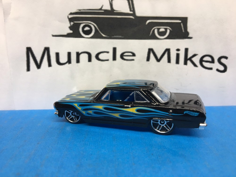 Collectible 2018 Hot Wheels 1963 Chevy II Nova Black W/ Flames With Custom Clear Display Case