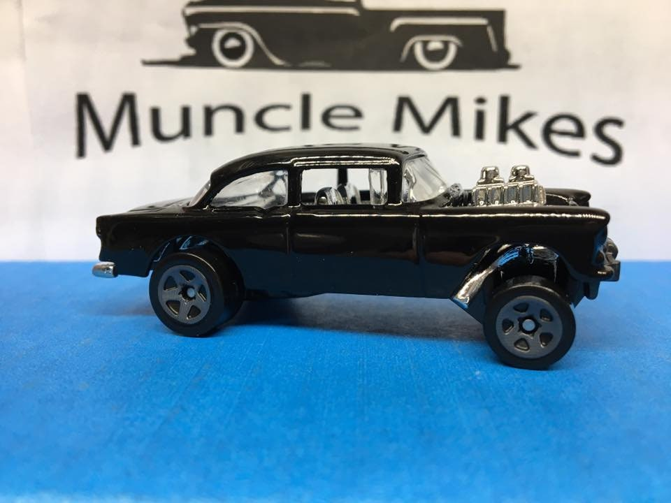 Custom Hot Wheels 55 Chevy Bel Air Gasser Drag Race Car Black