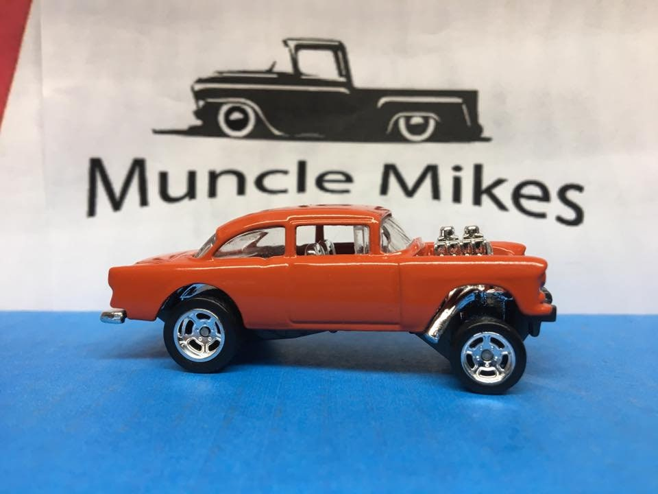 Custom Hot Wheels 1955 Chevy Gasser Drag Wheels With Rubber Tires Custom Painted HUGGER ORANGE Free Shipping!