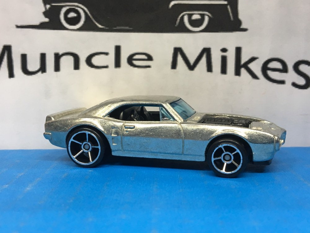 Custom Hot Wheels 1967 Pontiac Firebird Muscle Car Hot Rod Black Motor ZAMAC BARE METAL Free Shipping!