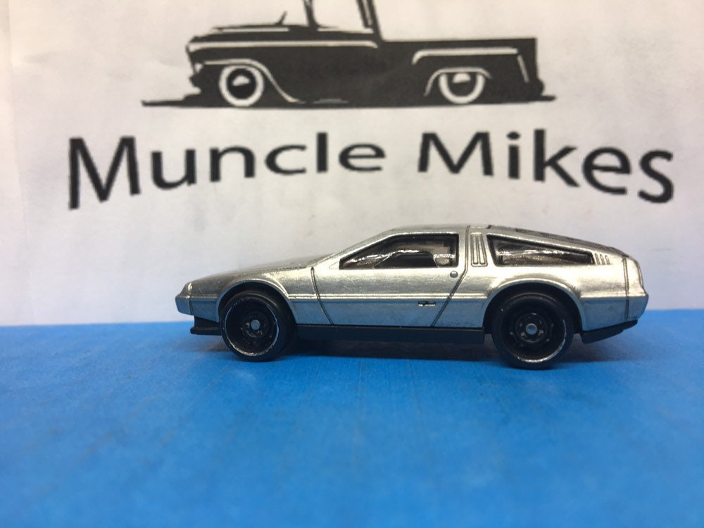Custom Hot Wheels Marty McFlyer Back To The Future DeLorean Brushed Aluminum Free Shipping!