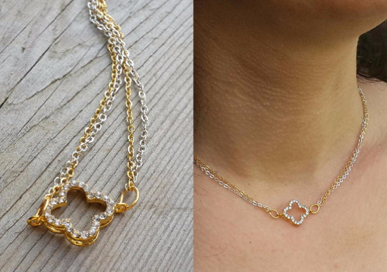 Gold Necklace Dainty Gift for bff Birthday Gift Protection Necklace Bridesmaid Gift Four Leaf Clover Necklace Clover Eye Necklace