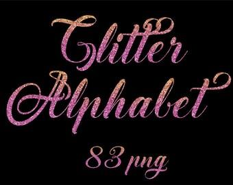 Rose Gold Glitter Alphabet Cursive Font Clipart Letters Png Clip Art Digital Pink
