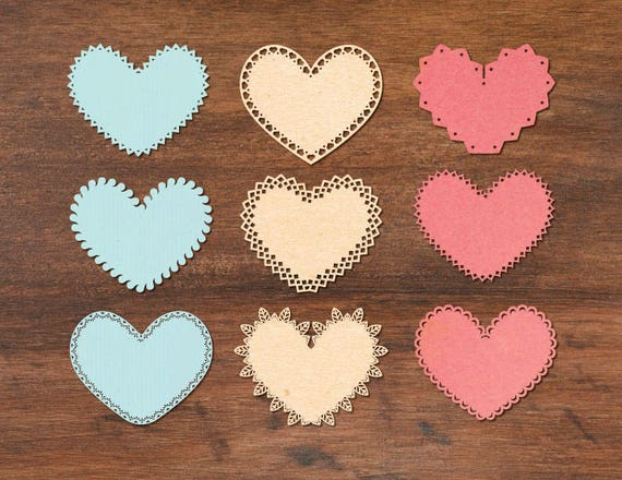 lace border heart templates for laser cutting cricut svg etsy