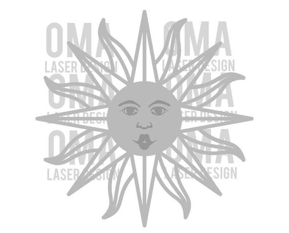 Sun Laser Pattern for Wall Clock DXF  Laser Cut Sun Template  Laser  Engraving Vector  Sun Face Vector CNC File  Sunrays SVG Vector Download