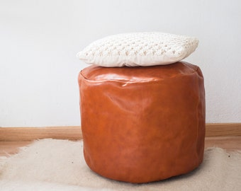 Leather Pouf in Olive / Floor Pillow / Floor Cushion / Leather