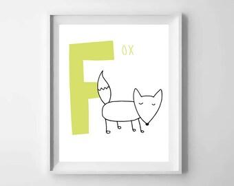 F; fox; animal alphabet; Nursery printable; letter print; initial name; first name, Kids alphabet, Nursery alphabet, Nursery art