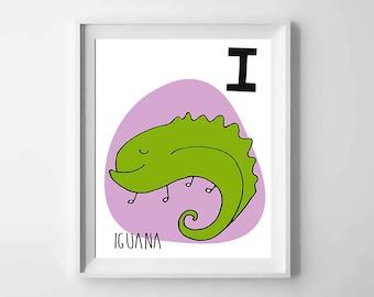 I; iguana; animal alphabet; Nursery printable; letter print; initial name; first name, Kids alphabet, Nursery alphabet, Nursery art