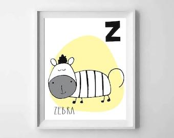 Z; zebra; animal alphabet; Nursery printable; letter print; initial name; first name, Kids alphabet, Nursery alphabet, Nursery art