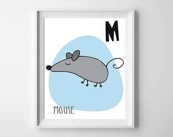 M; mouse; animal alphabet; Nursery printable; letter print; initial name; first name, Kids alphabet, Nursery alphabet, Nursery art