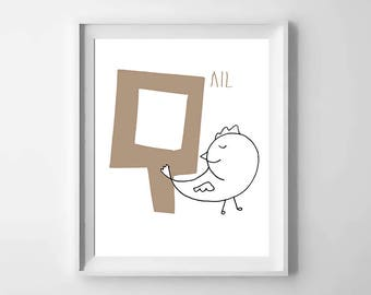 Q; quail; animal alphabet; Nursery printable; letter print; initial name; first name, Kids alphabet, Nursery alphabet, Nursery art