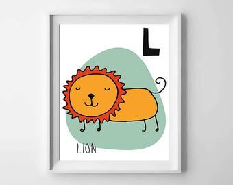 L; lion; animal alphabet; Nursery printable; letter print; initial name; first name, Kids alphabet, Nursery alphabet, Nursery art