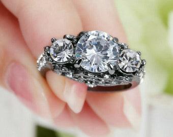 Vintage Handmade deep blue sapphire setting white bronze Silver gothic Ring