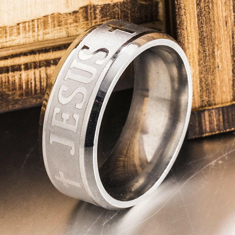 Silver JESUS Wedding Band