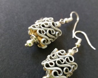 Earrings made of recycled nespresso capsules