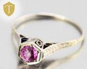 1910s Antique Edwardian 18k Gold Filigree Ruby Engagement Ring 0.25ct - Size 7