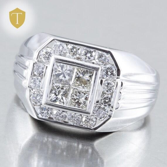 Solid 18k White Gold Signet Diamond Men's Ring - 1