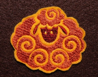 Cute Curly Sheep Iron-on Patch or Sew-on Cute Puffy Sheep with Curls Machine Embroidered Copper and Burgundy with Gold Background