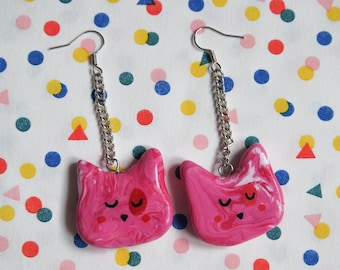 Big Pink Cat Earrings